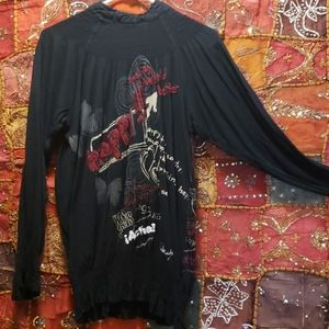 Desigual XL black top with tie neck.